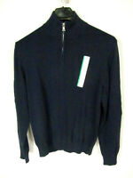 Merona Men's Pullover Sweater Size M Blue LS 1/4 Zipper NWT               (2827)