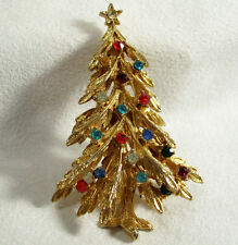 ART Christmas Tree Rhinestones Multi Color Gold Plated Brooch Pin Signed Vintage