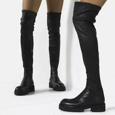 2020 New Winter Womens Round Toes Low Heels Over The Knee Boots Casual Shoes siz
