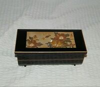 San Francisco Music Box Company Jewelry Box Hummingbird Black Lacquer Etched