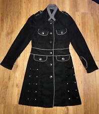 Queen Of Darkness Military Coat Black Grey Goth Brushed Wool Effect Small 8 10