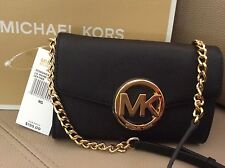 NWT $198 Michael Kors Hudson Black Phone Case Crossbody Saffiano Leather Clutch