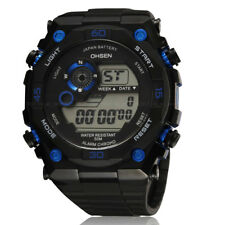 OHSEN Mens Military Style Blue Date Alarm Digit Light Sport Quartz Wrist Watches