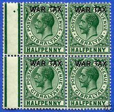 GIBRALTAR, KING GEORGE V, 1918 WAR TAX, OVERPRINT SG 86, MINT NO GUM, BLOCK OF 4
