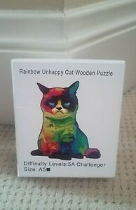 Wooden Jigsaw Puzzle Rainbow Unhappy Cat Small Puzzle Challenger Size A-5 New