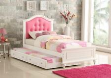 NEW KAYLA WHITE FINISH WOOD PINK LEATHERETTE GIRLS TWIN SIZE BED w/ TWIN TRUNDLE
