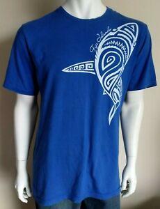 CRAZY JACK mens size XL tshirt blue Fiji Islands shark print surf beach shirt