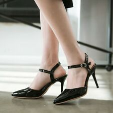 All US Size Women's Pointed Toe Sandals High Heels Ankle Strap Shoes Slingbacks
