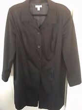 7c9ffaba0d6 Nordstrom Women s Trench Coat Jacket Black Hand Warmer Pockets Size 14