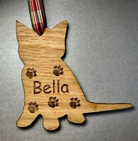 Personalised Oak Christmas Decorations Cat Kitten Tree Wood Bauble Gifts Xmas