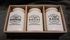Country Kitchen - Beautiful Home Ceramic Herb Jars - Sage, Parsely & Rosemary
