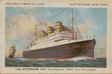 VTG T.S.S. Statendam Holland-America Line Rotterdam-New York Postcard