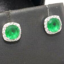 Round Emerald Stud Earrings Women Wedding Birthday Jewelry Gift Gold Plated