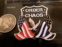 LAW ENFORCEMENT ORDER CHAOS THIN BLUE LINE CHALLENGE COIN