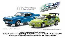 GREENLIGHT 1:43 FAST & FURIOUS 2PC SET 1969 YENKO CAMARO & MITSUBISHI LANCER