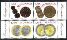 Monaco 2002 Euro Coins/Money/Currency/Commerce/Business/Economy 4v set (n38398)
