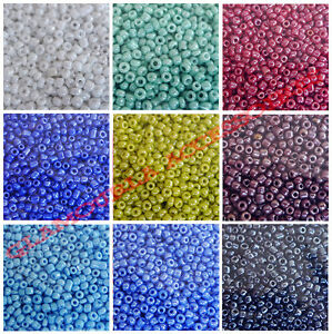 20 GRAMS - 11/0 2mm Opaque Lustrous Round Glass Seed Spacer Beads