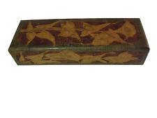 Circa 1900 Art Nouveau Floral Pyrography Wooden Brush Glove Box
