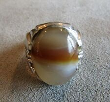 Clark & Coombs Large Mens Vintage Sterling Silver Agate Stone Ring Sz 10.5