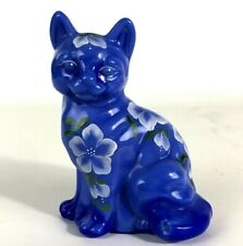 Fenton Art Glass Periwinkle Blue Hand Painted Cat Sitting Signed J Peyton Flaw