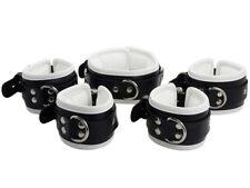 Bondage Manschetten Set Lederfesseln Leder Fesseln schwarz weiß Art.Nr.3003