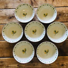 """Merry Brite MB Christmas Cereal Soup Bowl 6 1/2"""" Round Pine Cone Set of 7"""