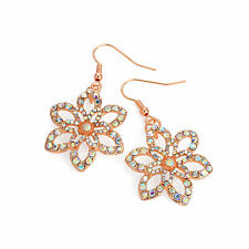 Rose Gold Colour AB Crystal Dlower Drop Earring Ladies Fashion Jewellery