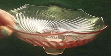 "TWISTED OPTIC 2 PINK DEPRESSION IMPERIAL GLASS CO FOOTED VTG 10"" SERVING BOWLS"