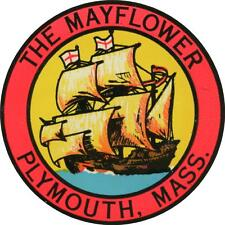 #989 (1) Plymouth MA Mayflower Luggage Label Travel Decal Sticker Repro 50's