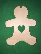 10 GINGERBREAD MAN with heart  WOODEN SHAPE HANGING CRAFT CHRISTMAS TAG