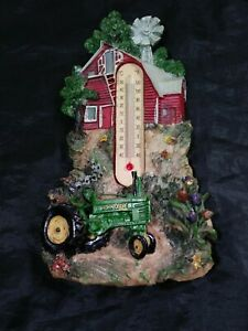 OLD JOHN DEERE FARM SCENE THERMOMETER WITH TRACTOR Solid Ceramic
