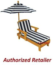 KIDKRAFT OUTDOOR CHAISE LOUNGE CHAIR w/ UMBRELLA KIDS YARD PATIO LAWN WOODEN NEW