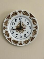 "Bulova Wall Clock Ceramic Plate Floral 10.5"" Battery Works White Burgundy Tan"
