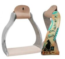 "Showman ""RIDING ON FAITH"" Twisted Angled Aluminum Stirrups w/ Barrel Racer! NEW!"