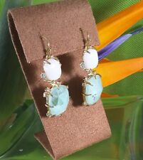 ALEXIS BITTAR MOONSTONE AND AMAZONITE CRYSTAL ACCENT DROP EARRINGS