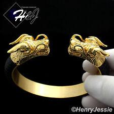 BIKER MEN Stainless Steel 12mm Black/Gold Dragon Head Leather Adjust Bracelet*83