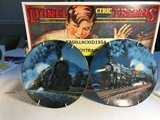 """TWO 8"""" RAILROAD CLASSIC PLATES WITH WALL HANGERS -  EXCELLENT -TY319"""