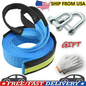 16' Heavy Duty Winch Rope Pull Strap Tow Road Recovery Emergency Chain Hooks 8T