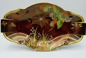 Carlton Ware : Spider's Web Oval Dish 1920s 30s Rouge Royal 30cm long in vgc.