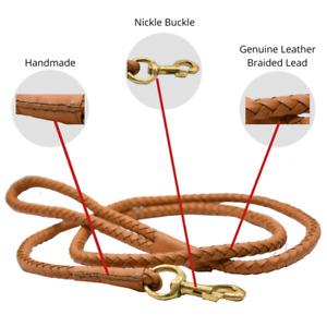 Leather Dog Training Leash Braided Rolled Pet Lead 5 Ft Long Heavy Duty Handmade