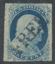 "USA 1852 Franklin SC# 9 One Cent - ""FREE"" Cancellation ...USA"