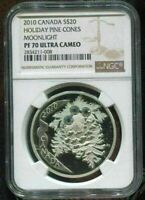 2010 CANADA $20 - HOLIDAY PINE CONES - MOONLIGHT - NGC PF70 UC /w BOX & COA COIN