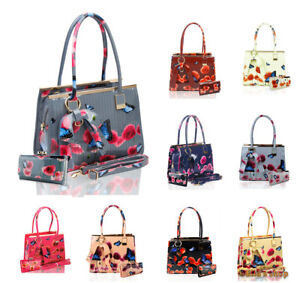 2IN1 Womens New Butterfly Floral Bow Charm Large Shoulder Tote Handbag Purse Bag