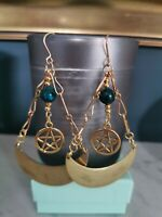 Pentagram Charm Antique Bronze Boho Earrings With Howlite Beads - Pagan Witch