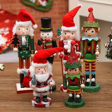 Père Noël en Bois Casse-Noix Elfe Noyer Soldat Noël Ornement Cadeau Décoration