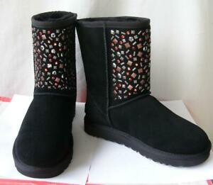 UGG Australia 5 Plush Suede Classic Short Boots Wool Lined Crystal Studded NEW