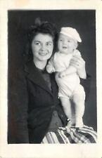 Beulah (Striped Skirt) & Baby Gaven W/Sideways Newsboy Cap~RPPC 1940s RPPC