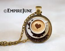 Cappuccino Heart Coffee Necklace Glass Cabochon Bronze chain Necklace