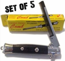 (5) Push Button Pocket Comb Brush Fake Switch Blade Knife Knives