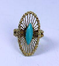 "Exquisite 18K Gold Persian Turquoise Estate Ring  7.7gr Hallmark ""750 1021 AL"""
